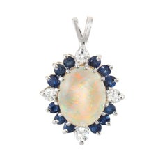 Opal Sapphire Diamond Pendant Vintage 14 Karat White Gold Estate Fine Jewelry