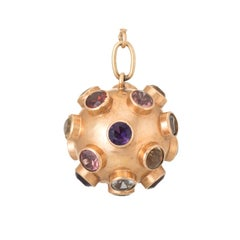 Sputnik Gemstone Domed Pendant  18 Karat Yellow Gold