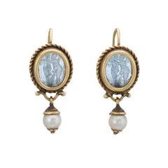 Venetian Glass Cherub Drop Earrings Vintage 18 Karat Gold Estate Fine Jewelry