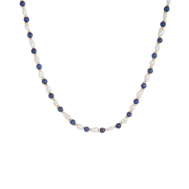 Lapis Lazuli Freshwater Pearl Choker Necklace Vintage 14 Karat Gold Estate