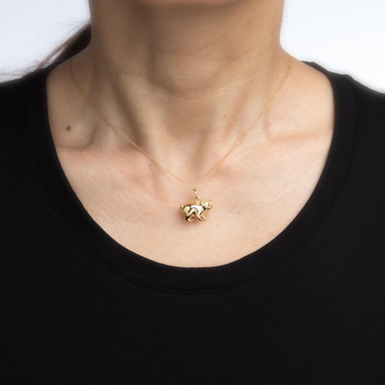 Tiffany & Co. Pig Charm Pendant Diamond 18 Karat Gold Necklace Estate Jewelry In Excellent Condition For Sale In West Hills, CA