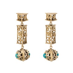Turquoise Floral Drop Earrings Vintage 14 Karat Yellow Gold Estate Fine Jewelry
