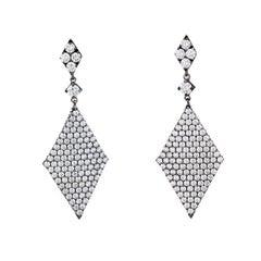 Diamond Triangle Pendant Drop Earrings 18 Karat Blackened Gold Estate