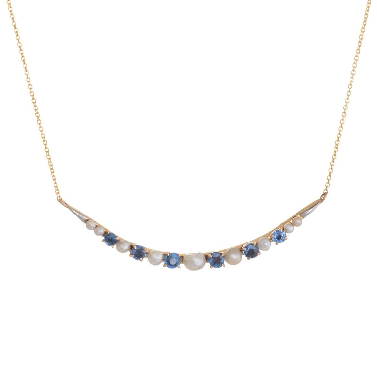 Antique Crescent Moon Conversion Necklace Victorian Sapphire Seed Pearl 14 Karat
