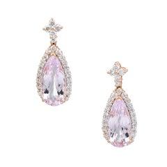 Estate Morganite Diamond Drop Earrings Pear 14 Karat Rose Pink Gold Fine Jewelry