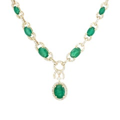 Effy Emerald Diamond Drop Necklace Estate 14 Karat Yellow Gold