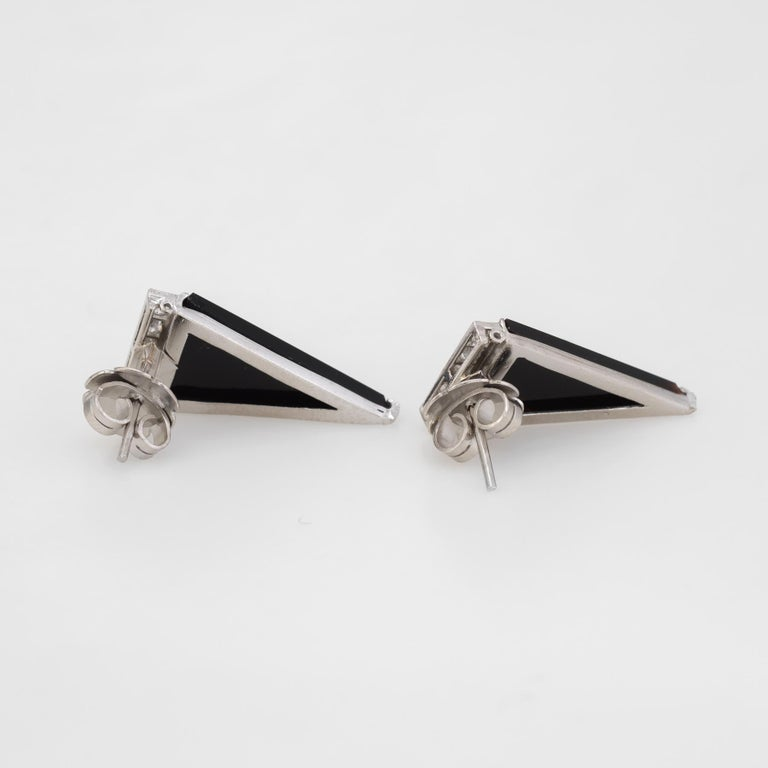 Vintage Diamond Onyx Triangle Earrings Platinum Estate Fine Jewelry Statement In Excellent Condition For Sale In West Hills, CA