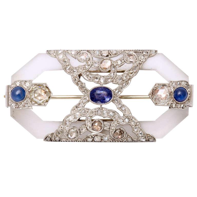 Rock Crystal Sapphire Rose Diamond Platinum  Brooch For Sale