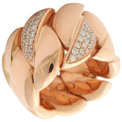 Diamond Gold Expandable Link Band Ring