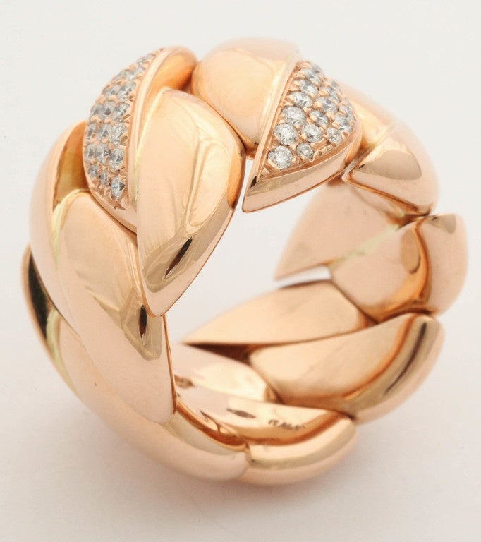 Diamond Gold Expandable Link Band Ring At 1stdibs