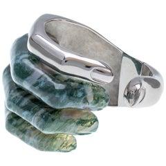 DELFINA DELETTREZ Moss Agate Silver Stonehand Cuff Bracelet