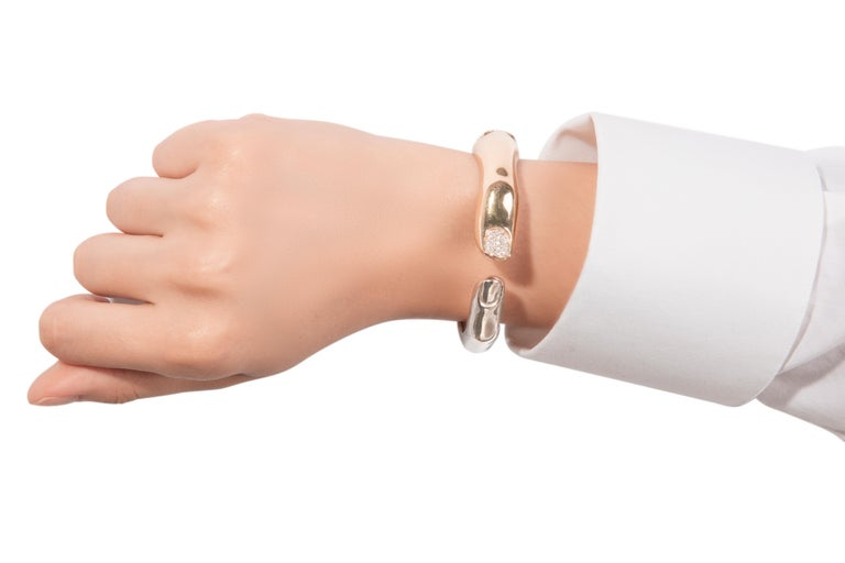 A unique cuff bracelet created by Italian jeweller Delfina Delettrez. The Finger Mood bracelet is a playful study of the human anatomy and the designers fascination with adorning the body parts in a nod to the surrealist movement and traditional