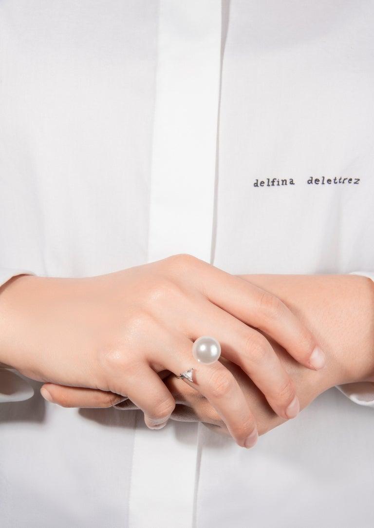 Trillion Cut DELFINA DELETTREZ Pearl Trillion Diamond 18 Karat Gold Ring For Sale