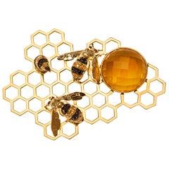 DELFINA DELETTREZ Black Diamond Sapphire Citrine 18 Karat Gold Brooch