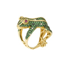 3 Carat Tsavorite Diamonds and Ruby 18 Karat Yellow Gold Frog Ring