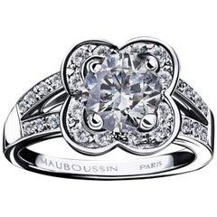 Mauboussin Paris Chance of Love 1 Carat Round Diamond 18 Karat Gold Ring