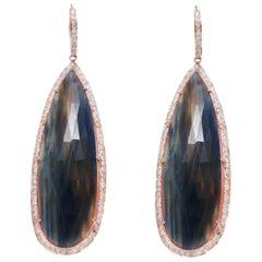 Drops Rough Cut Sapphire 2 Carat Diamonds 18 Karat Rose Gold Earrings Drops