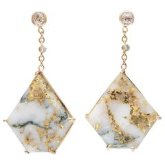 35 Carat Gold Bearing Quartz Diamonds 18 Karat Yellow Gold Earrings