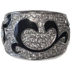 Marco Molinario Monaco Diamond Pave 18 Karat White Gold Band Ring
