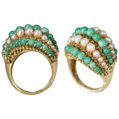 Van Cleef & Arpels Turquoise and Pearl Twist 18 Karat Yellow Gold Dome Ring