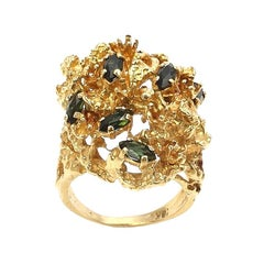 Scattered Marquise-Cut Green Tourmaline and 18 Karat Yellow Gold Cluster Ring