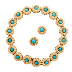 Tiffany & Co. Turquoise Cabochon Daisy with Bracelet and Earrings