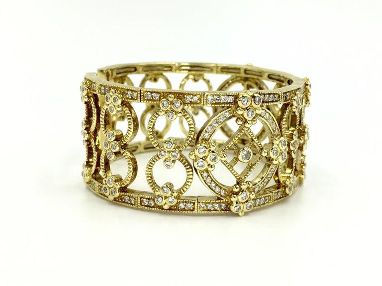 Round Cut Judith Ripka Garland 18 Karat Yellow Gold Diamond Cuff Bracelet For Sale