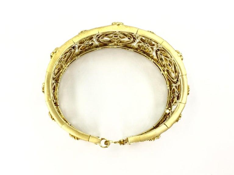 Women's Judith Ripka Garland 18 Karat Yellow Gold Diamond Cuff Bracelet For Sale