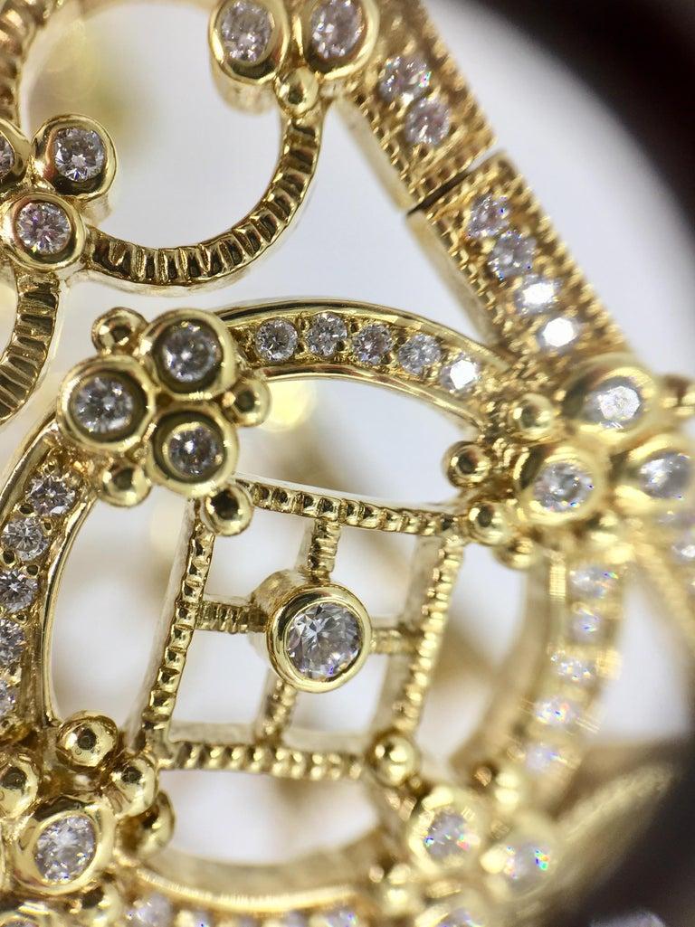 Judith Ripka Garland 18 Karat Yellow Gold Diamond Cuff Bracelet For Sale 2