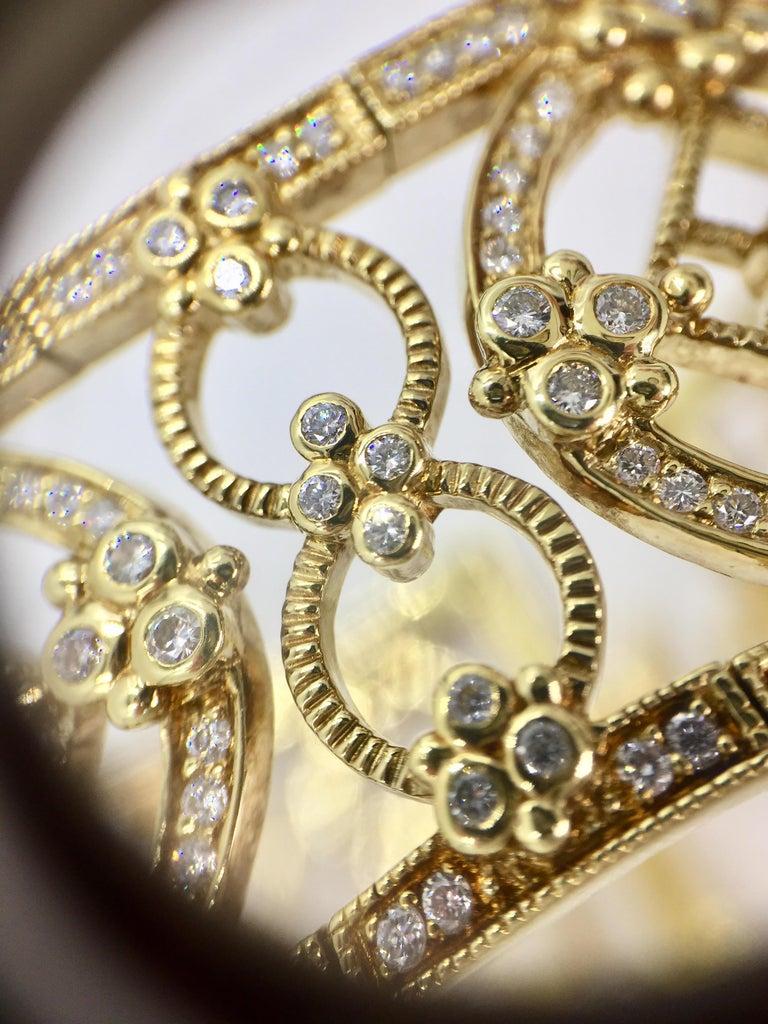 Judith Ripka Garland 18 Karat Yellow Gold Diamond Cuff Bracelet For Sale 3