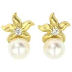 Paul Morelli 18 Karat Starfish Pearl Earrings with Diamonds