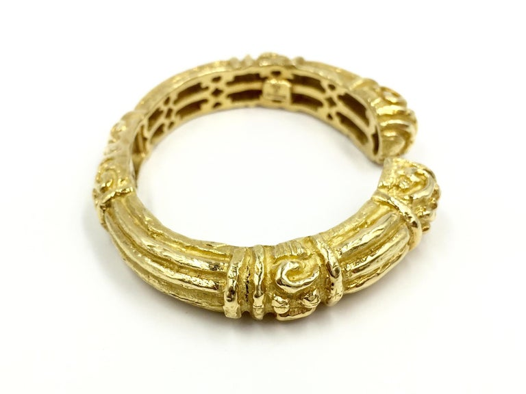 Greek Revival Carved 18 Karat Gold Cuff Bracelet by Katy Briscoe For Sale