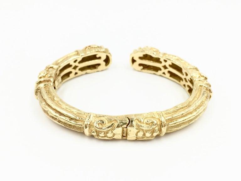 Women's Carved 18 Karat Gold Cuff Bracelet by Katy Briscoe For Sale