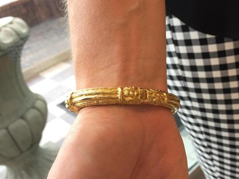 Carved 18 Karat Gold Cuff Bracelet by Katy Briscoe For Sale 3