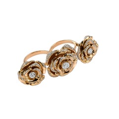 Frohmann 3 Roses Gold with Diamonds on 2 Fingers Ring