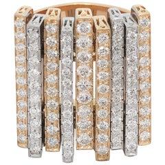 Ponte Vecchio Gioielli White Gold and Yellow Gold Diamond Cocktail Ring