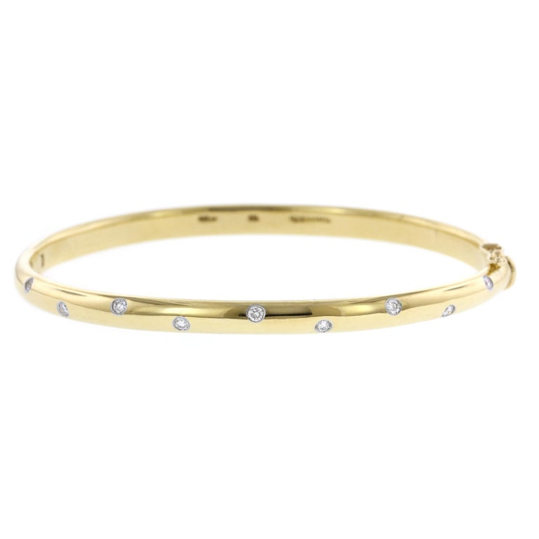 Tiffany & Co. 18 Karat Yellow Gold and Platinum Diamond Etoile Bangle