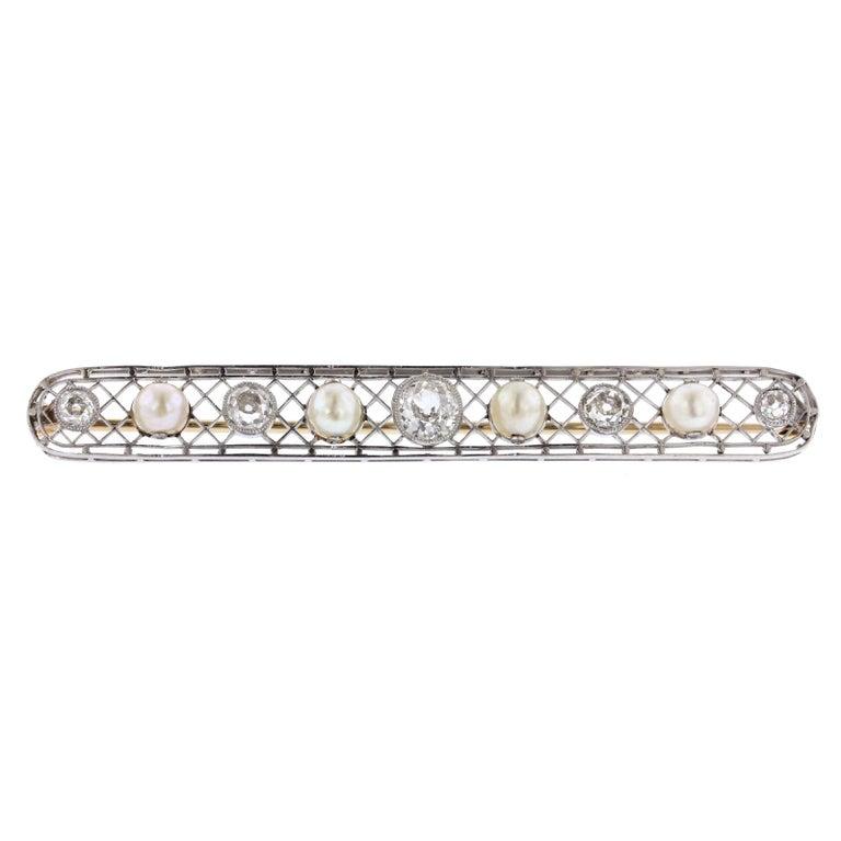 Antique Platinum Natural Pearl and Diamond Pin