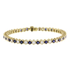 Tiffany & Co. 18 Karat Yellow Gold Sapphire and Diamond Bracelet