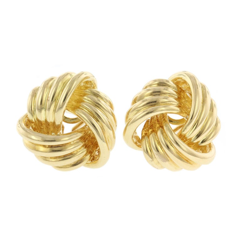 Tiffany Co 18 Karat Yellow Gold Love Knot Earrings For