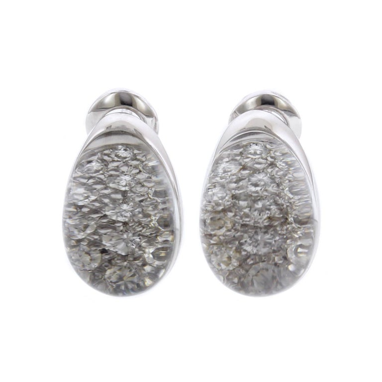 Cartier Myst De Cartier 18 Karat White Gold Rock Crystal Diamond Earrings