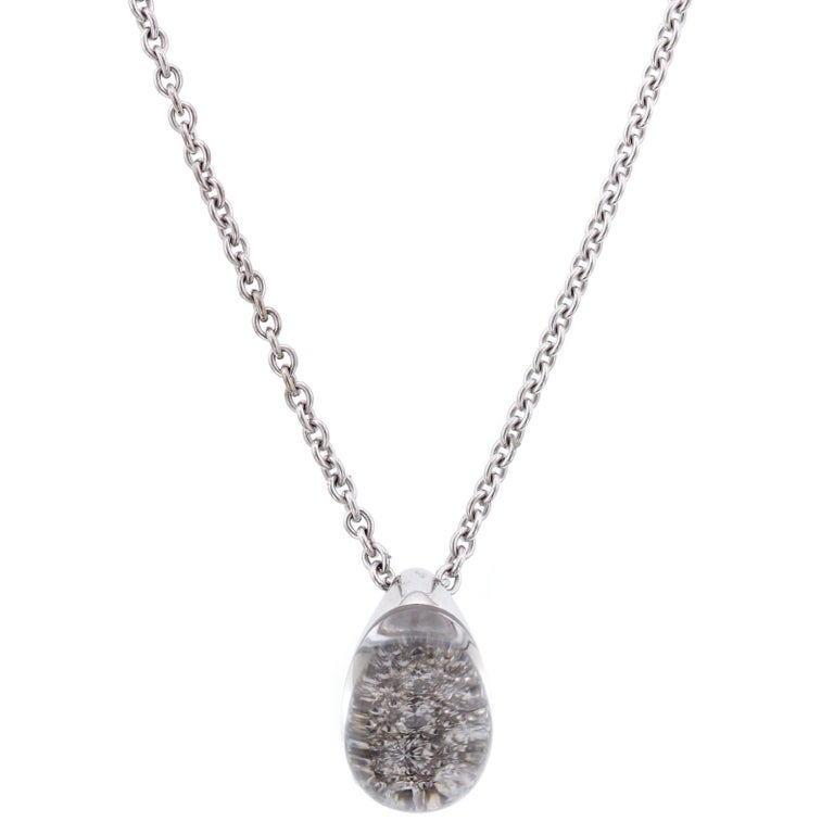 Cartier Myst De Cartier 18 Karat White Gold Rock Crystal Diamond Pendant