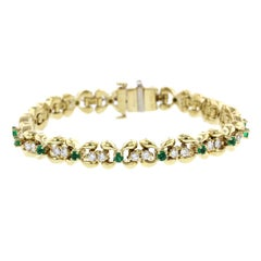 Kurt Wayne 18 Karat Yellow Gold Emerald and Diamond Bracelet