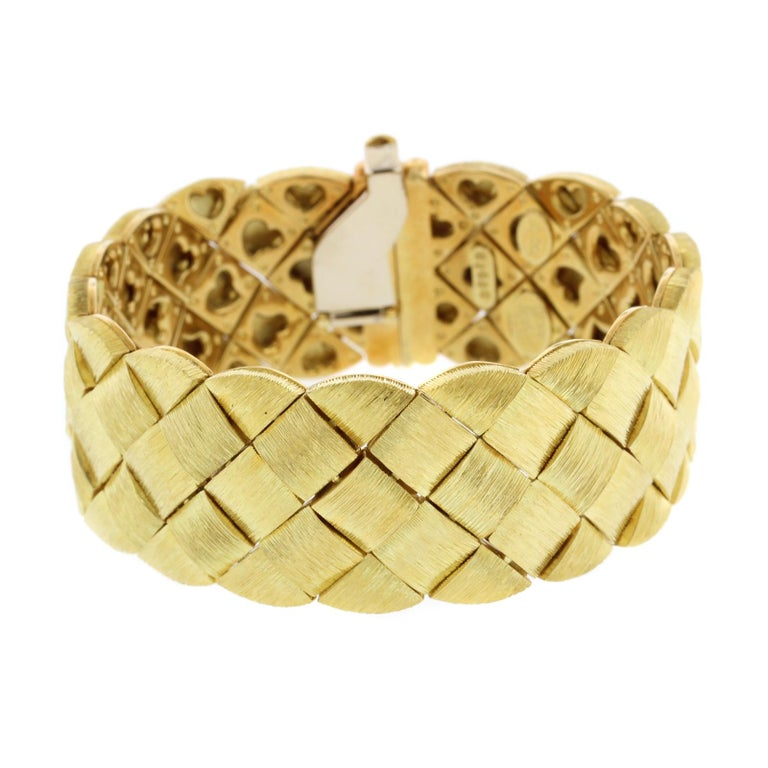 Henry Dunay 18 Karat Yellow Gold Woven Bracelet