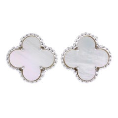 Van Cleef & Arpels 18 Karat White Gold Mother-of-Pearl Alhambra Earrings