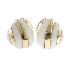 18 Karat Yellow Gold White Coral Earrings