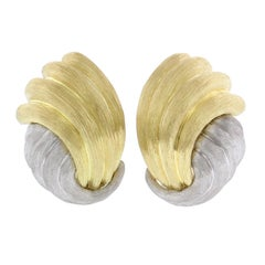 Henry Dunay 18 Karat Yellow Gold and Platinum Clip Earrings
