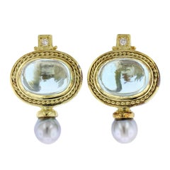 18 Karat Yellow Gold Aquamarine, Diamond and Pearl Earrings