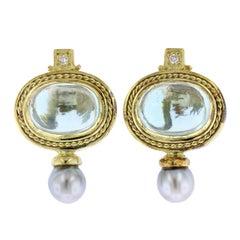 18 Karat Yellow Gold Aquamarine, Diamond and Pearl Earrings