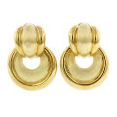 Henry Dunay 18 Karat Yellow Gold Door Knocker Earrings